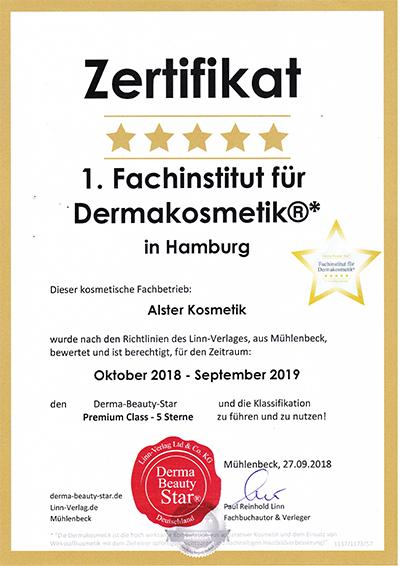 Auszeichnung Alster Kosmetik erstes 5 Sterne Kosmetikinstitut in Hamburg mit dem Dermastar