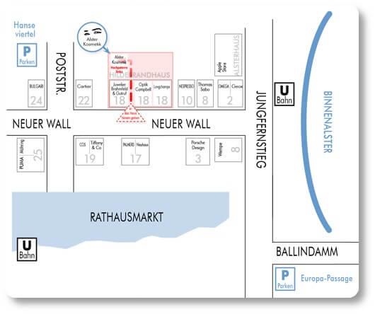 Sie finden Alster Kosmetik Susann Klein am Neuer Wall 18 20354 Hamburg. Das ist die Wegbeschreibung