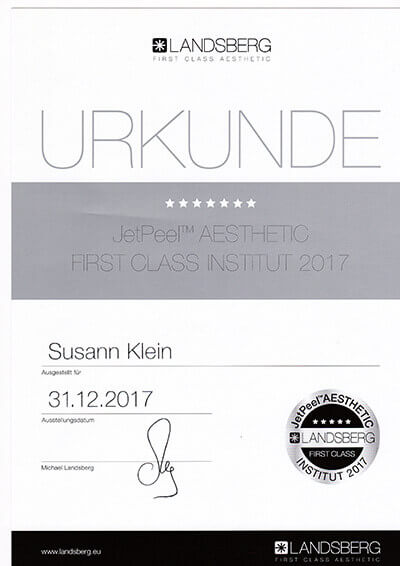 Auszeichnung Alster Kosmetik JetPeel Gesichtsbehandlung Susann Klein Hamburg